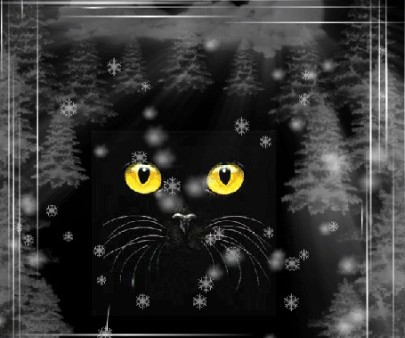Анимация На фоне падающих снежинок, в окружении елочек меняющееся изображение черной кошки