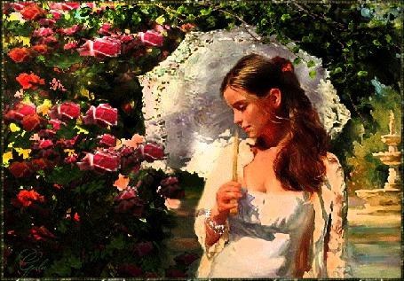 Анимация Девушка в белом платье, держит в руке зонтик, она стоит около цветущего кустарника роз
