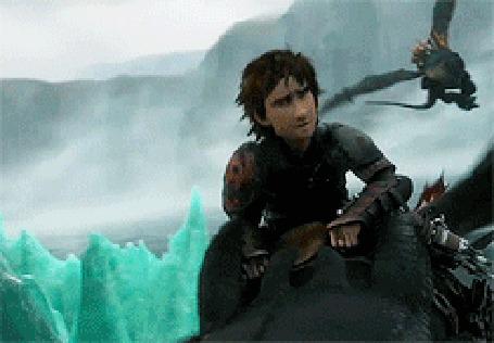 Анимация Иккинг верхом на драконе Беззубике, мультфильм Как приручить дракона / How to Train Your Dragon