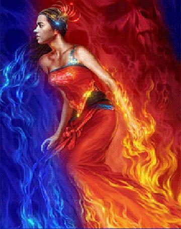 Анимация Девушка в красном платье, с разных сторон которой находятся пламя огня и вода (© Akela), добавлено: 09.03.2015 14:00