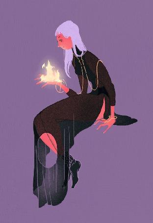 Анимация У девушки огонь в руке
