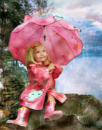 Анимация Девочка со светлыми волосами, в красном плаще, красных сапожках, с красным зонтиком сидит на камне под дождем, на фоне водной глади реки