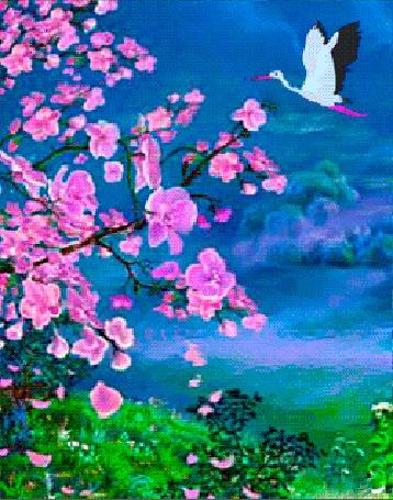 Анимация Цветущие ветки сакуры и летящий в небе журавль (© Akela), добавлено: 09.03.2015 16:03