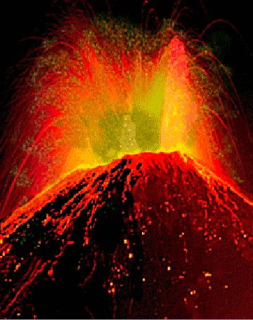 Анимация Извержение вулкана с выбросом лавы (© Akela), добавлено: 09.03.2015 16:23