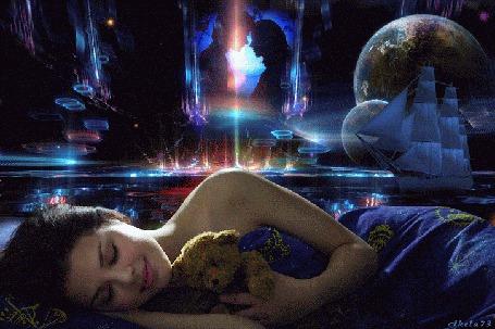 Анимация Девушка спит, прижимая к себе игрушечного мишку и за ней вылетают бабочки
