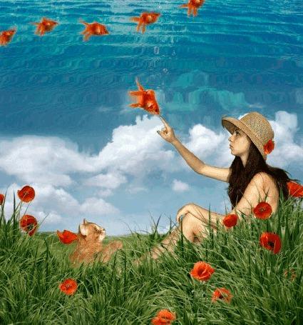Анимация Рыжий котик внимательно наблюдает, как к мечтательной девушке в соломенной шляпке, сидящей на поляне среди алых маков, приплыли золотые рыбки из глубин голубого неба (© 16061984), добавлено: 10.03.2015 05:52