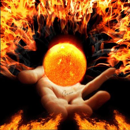 Анимация Рука объятая пламенем над рукой огненный шар (© Bezchyfstv), добавлено: 12.03.2015 00:15