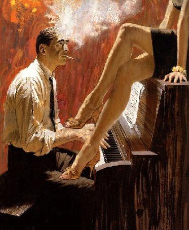 Анимация Мужчина курит сигарету и играет на пианино, девушка сидит на пианино, колышет красивой ножкой и поет (© Akela), добавлено: 12.03.2015 08:49