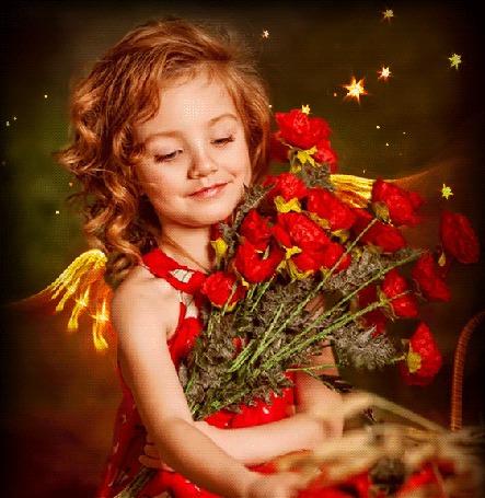 Анимация Девочка Ангел сидит с букетом красных роз и машет золотыми крылышками за спиной (© Akela), добавлено: 12.03.2015 10:02