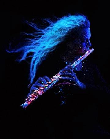 Анимация Девушка в неоновом свете, играет на флейте (© Bezchyfstv), добавлено: 12.03.2015 23:50