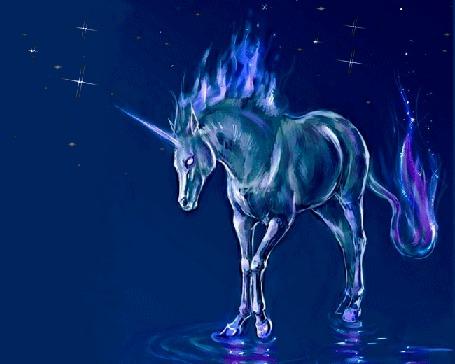Анимация Единорог стоит в воде на фоне звездного неба