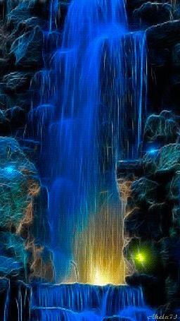 Анимация Красивый водопад с подсветкой с пещеры, Akela73 (© Akela), добавлено: 14.03.2015 02:45