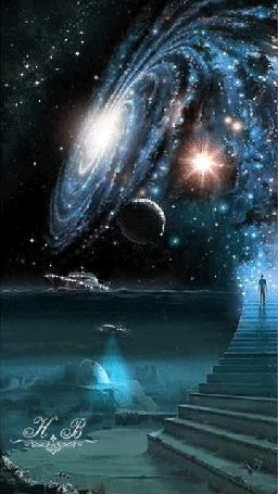 Анимация Мужчина, поднимающийся ночью по лестнице, ведущей в небо, где идет круговорот звезд над океаном с плывущим кораблем