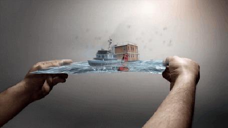 Анимация Мужчина держит в руках плоскость с морем, по которому плывет яхта (© Tiana), добавлено: 16.03.2015 16:40