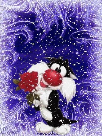 Анимация Котик держит розу, идет снег (© koketka77), добавлено: 16.03.2015 21:11