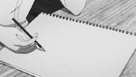 Анимация Девушка держит карандаш в руке