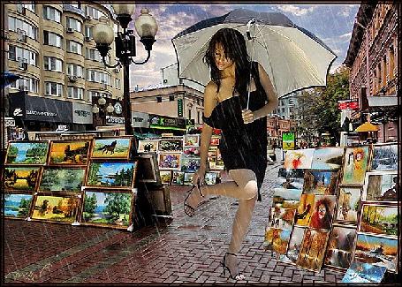 Анимация Девушка под дождем в городе рядом с выставленными картинами (© ДОЛЬКА), добавлено: 17.03.2015 21:17