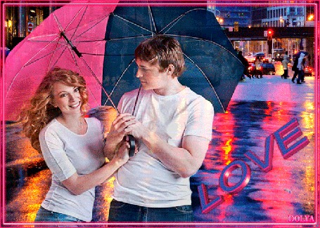 Анимация Мужчина и Девушка в городе под зонтом (LOVE)