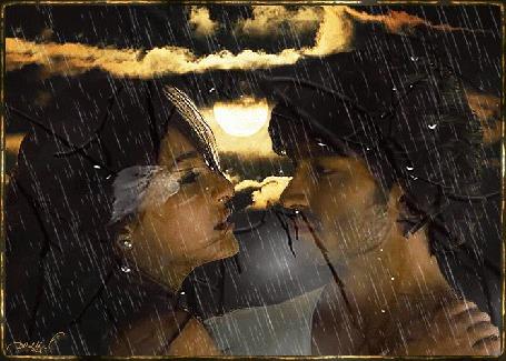 Анимация Мужчина и женщина стоят под дождем, ночь, луна, хмурое небо, тучи. Голые ветви колышутся от ветра