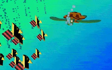Анимация Черепаха и рыбки в воде