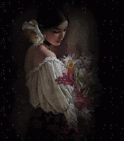 Анимация Девушка с цветами в руках (© zmeiy), добавлено: 18.03.2015 13:20