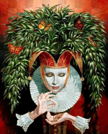 Анимация Девушка в старинном наряде, в головном уборе из веток с листьями, среди которых летают бабочки, держит в руках украшение