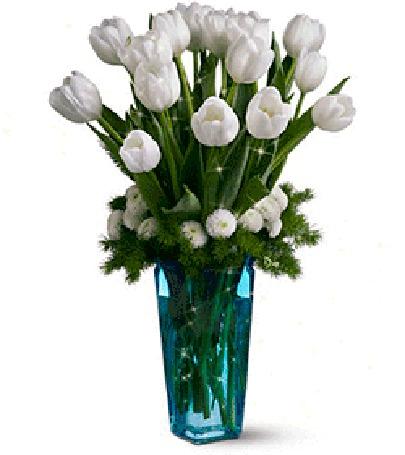 Анимация Букет белых тюльпанов в вазе