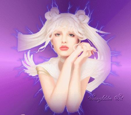 Анимация Девушка Ангел держит руки у лица, от нее исходят голубые молнии (© Akela), добавлено: 20.03.2015 00:44