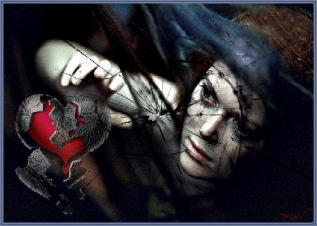 Анимация Девушка рукой касается разбитого сердца, глаза моргают, сердце капает кровью, их перекрывает вуаль, цвета морской волны, перед разбитым стеклом (© ДОЛЬКА), добавлено: 20.03.2015 18:56