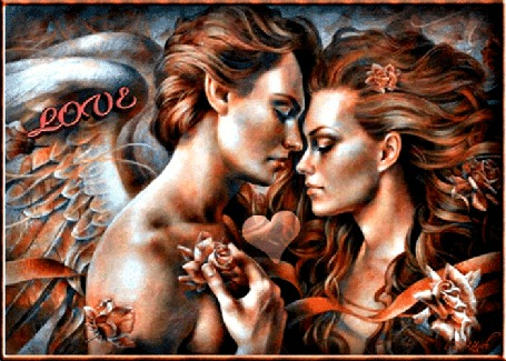 Анимация Женщина и мужчина держат друг друга за руки, в руках роза, между ними бьется сердце, от которого расходятся лучи, глаза кротко опущены вниз, волосы развиваются, мужчина в виде ангела, сзади крылья,(love)