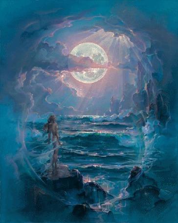 Анимация Обнаженная девушка в легкой вуали стоит на камне и смотрит на бушующее море, над которым светит полная Луна (© Akela), добавлено: 21.03.2015 02:34