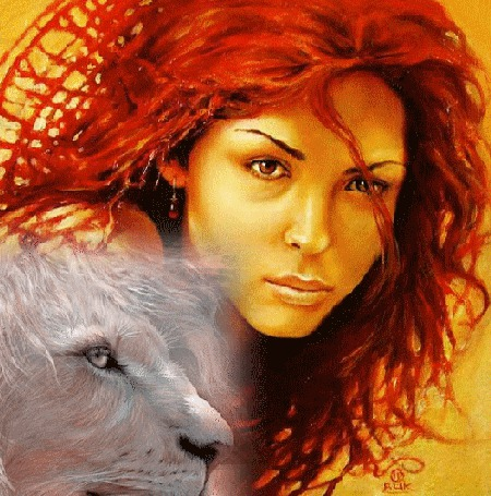 Анимация Девушка с белым львом (© Akela), добавлено: 21.03.2015 20:24