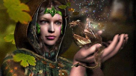 Анимация Девушка держит на руке дракончика на котором сидит маленькая эльфийка