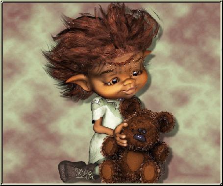 Анимация Мальчик тролль играет с игрушечным плюшевым медвежонком