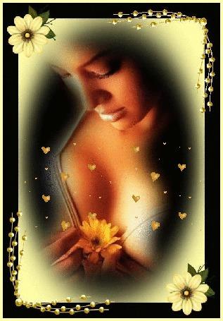 Анимация Девушка держит в руках желтый цветок, от которого вверх поднимаются желтые сердечки (© Akela), добавлено: 22.03.2015 02:31