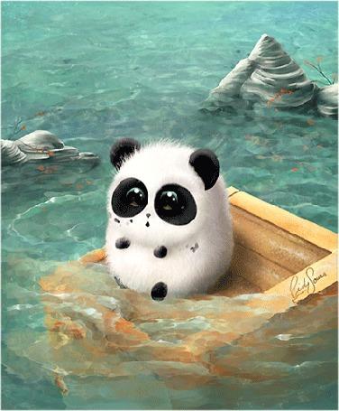 Анимация Панда плавает на деревянном ящике в воде