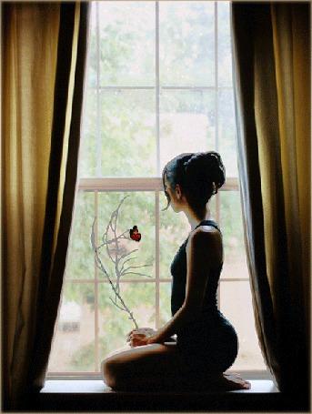 Анимация Девушка сидит на подоконнике у окна, на веточке в ее руках сидит бабочка, за окном идет дождь (© Angelique), добавлено: 22.03.2015 09:22