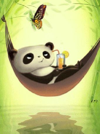 Анимация Панда пьет сок, лежа в гамаке (© chucha), добавлено: 01.03.2015 01:02