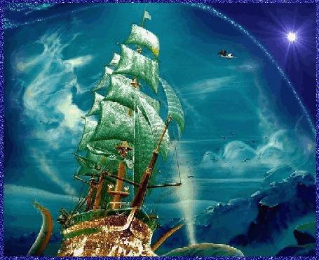 Анимация Золотой корабль с зелеными парусами идет по синему морю, над ним летят птицы и в небе сияет Полярная звезда (© Akela), добавлено: 22.03.2015 18:12