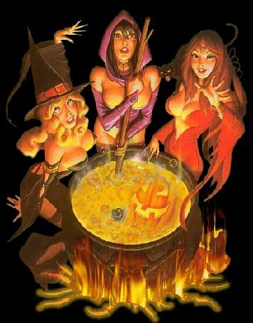 Анимация Ведьмы сидя вокруг котла, варят колдовское зелье (© Akela), добавлено: 22.03.2015 18:16