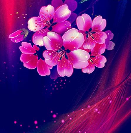 Анимация Розовые цветы на синем фоне (© Akela), добавлено: 23.03.2015 00:33