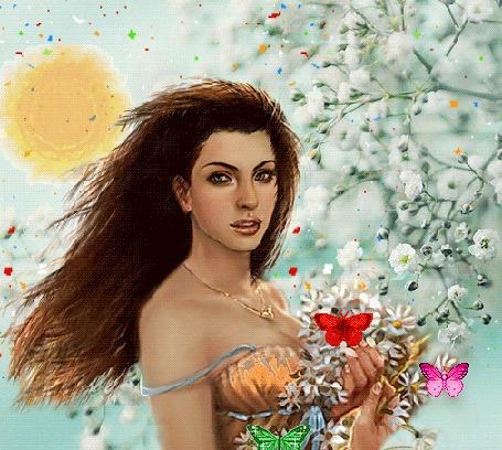 Анимация Девушка стоит у цветущего дерева, держит в руках букетик цветов, над которым вьются бабочки, в небе светит яркое Солнце
