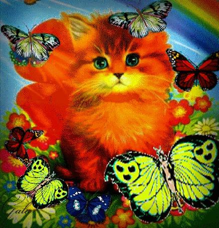 Анимация Рыжий котенок сидит среди цветов и бабочек (© Akela), добавлено: 23.03.2015 00:44