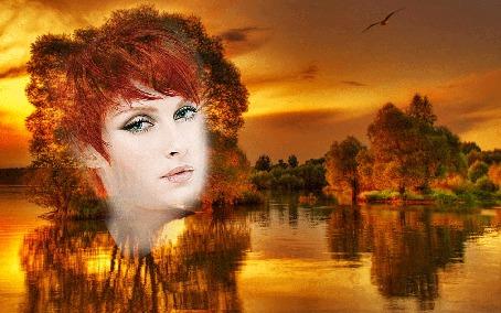 Анимация Лицо девушки на фоне дерева, растущего на островке по середине реки, во время заката (© Leto), добавлено: 23.03.2015 14:57