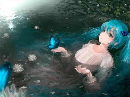 Анимация Vocaloid Hatsune Miku / Вокалоид Хатсуне Мику лежит в воде, на ее руке сидит голубая бабочка (© Arinka jini), добавлено: 23.03.2015 15:09