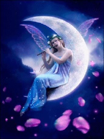 Анимация Девушка эльф сидит на луне и играет в дудочку