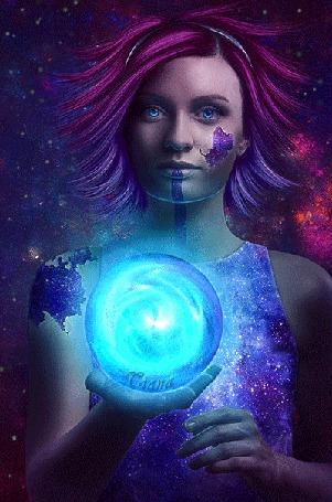 Анимация Девушка с короткими сине-розовыми волосами держит в руке магический шар, за ней звездное небо