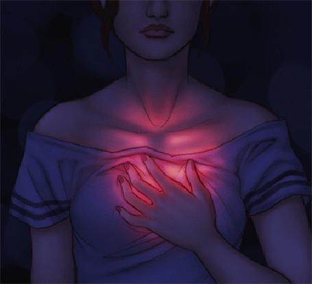 Анимация Девушка держит руку на сердце, которое светится с каждым ударом