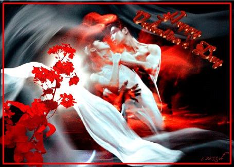 Анимация День святого валентина, мужчина придерживает девушку за талию, белая вуаль, цветок, сердце (Happy Valentines Day / с Днем Святого Валентина)