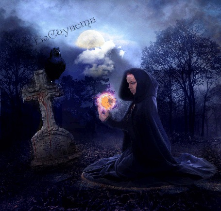 Анимация Девушка сидит перед могильным надгробием на коленях, над руками магический шар, на кресте сидит ворона (© Bezchyfstv), добавлено: 25.03.2015 00:02